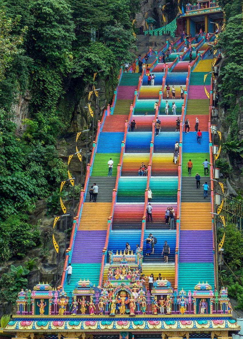 Painted steps leading to Batu Caves.