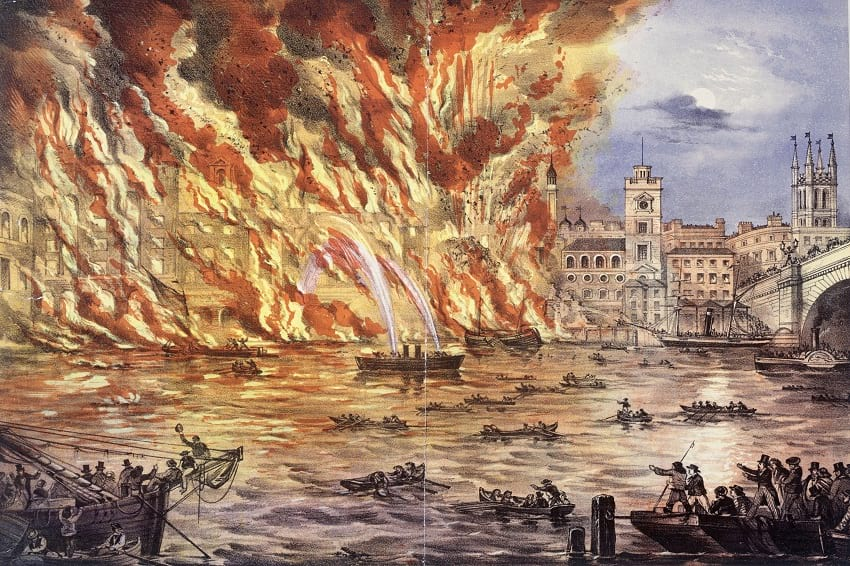 Lithographic print of the great fire near London Bridge.