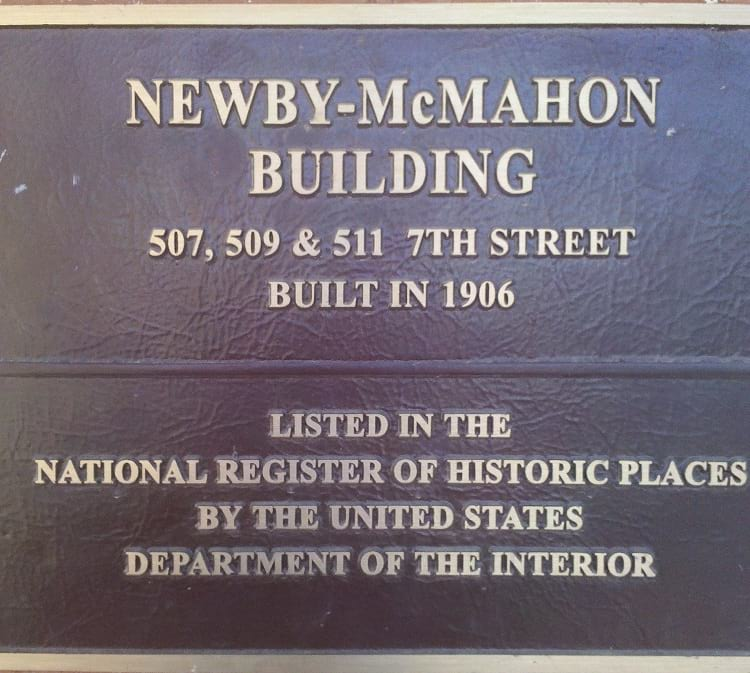 Newby-McMahon Building plaque.