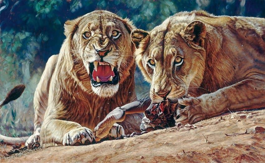 Oil painting of Tsavo man-eaters