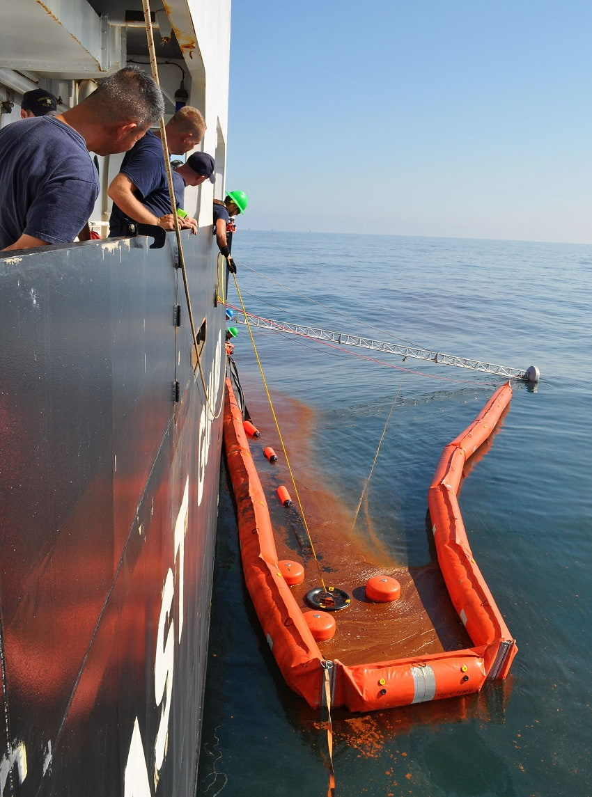 Deepwater Horizon oil spill clean up by ship crew.