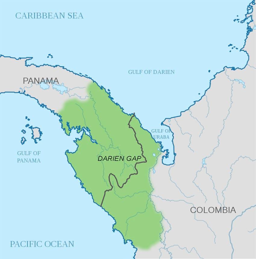 Map of Darien Gap