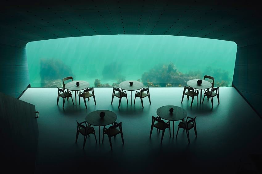 Inside 'under' restaurant in Lindesnes, Norway.