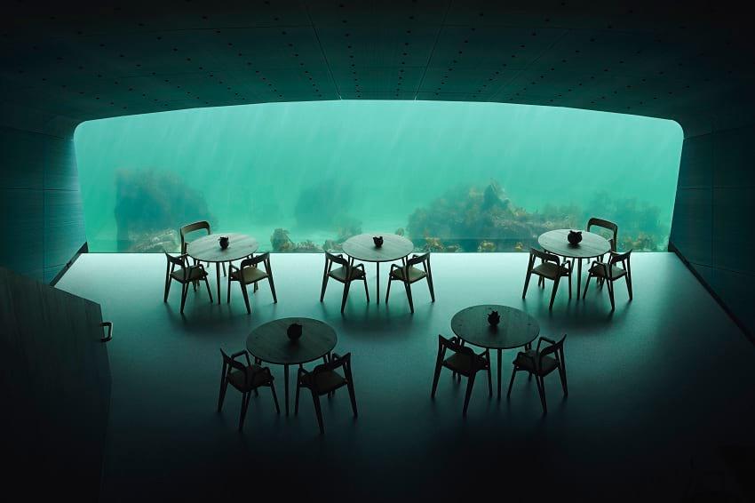Inside 'under' restaurant in Lindesnes, Norway.