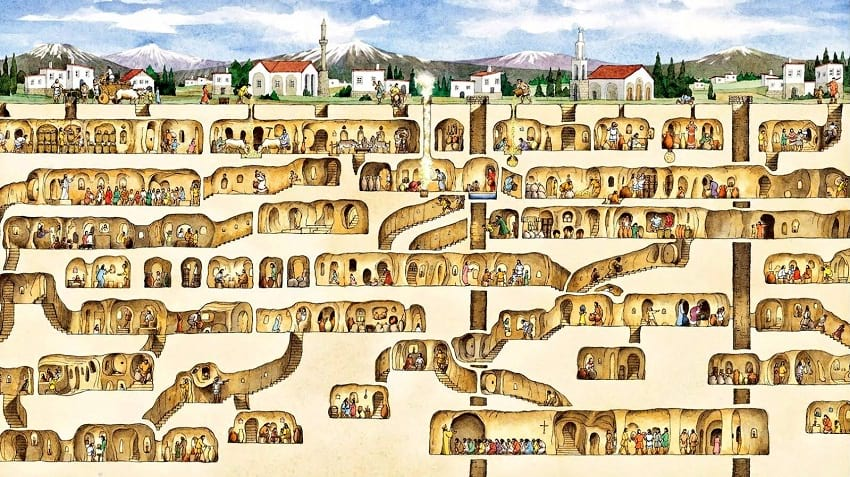 Cross section of the underground city.
