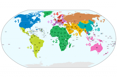 Country calling codes map.