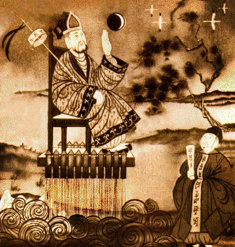 Wan Hu launching himself into space.