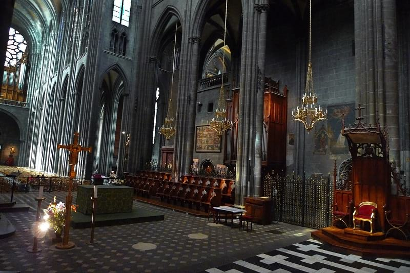 The interior of Clermont-Ferrand Cathedral.