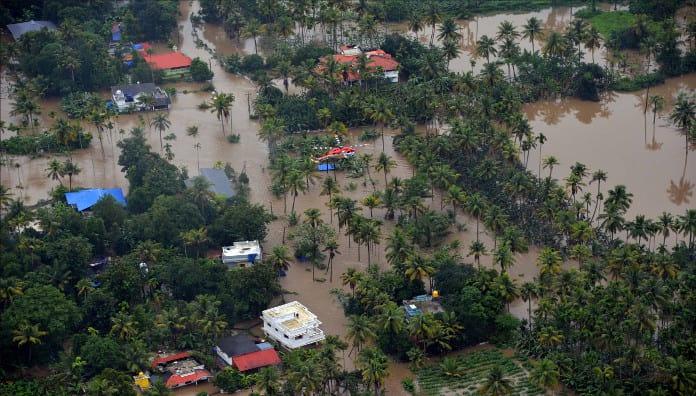 Aerial photo of 2018 Kerala floods.